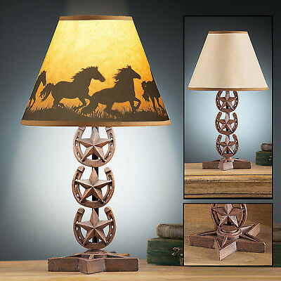 Western Horse Shoe and Country Star Table Lamp w/ Shade Rustic Cowboy Home Decor