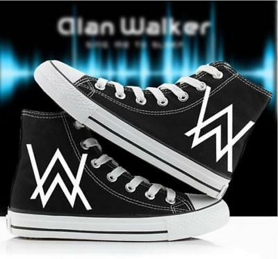 Fashion Alan Walker Hand Painted Canvas Shoes High Help Colored Drawing Casual