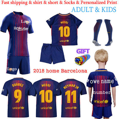 2018 Home Boy Soccer Adult Kid football Suit Jersey Kits Men Short Outfits Set