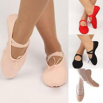 Adult Child Pure Color Canvas Ballet Dance Shoes Pointe Gymnastics Slippers BD Y