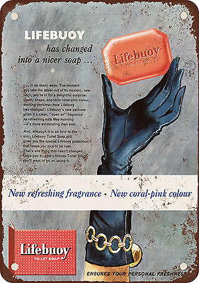 """9"""" x 12"""" Metal Sign - 1957 Lifebuoy Soap Coral Pink - Vintage Look Reproduction"""