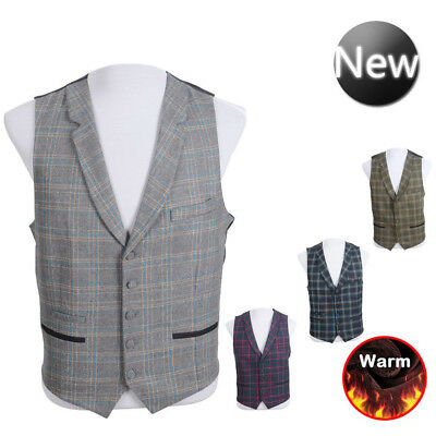 Mens Classic Waistcoat Blend Wool Mix Tweed Collar Check Formal Vest Gilet UK