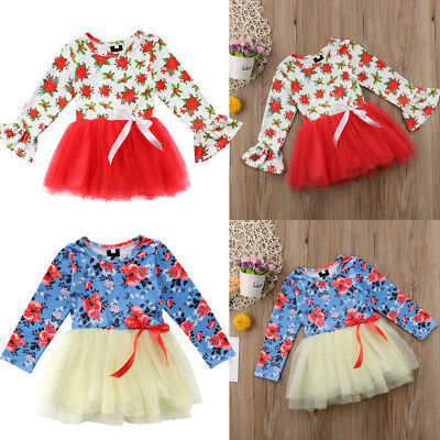 UK Kids Baby Little Girl Floral Net Yarn Skirt Princess Dress Party Outfit 1-6Y