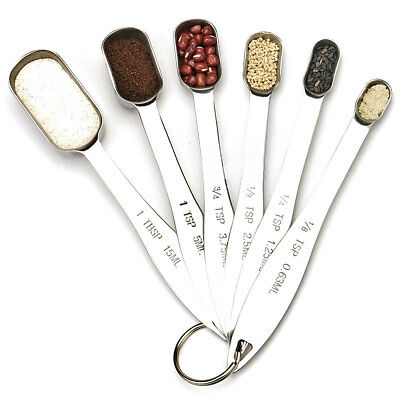 6PCS Home Kitchen Heavy Duty Stainless Steel Metal Measuring Spoons Gadgets AU