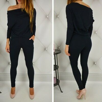 Women Cotton Off Shoulder Romper Jumpsuit Long Sleeve Casual Overall Clubwear