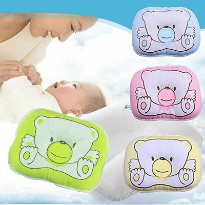 Kids Baby Toddler Soft Cotton Bedding Bear Print Oval Shape Baby Shaping Pillow