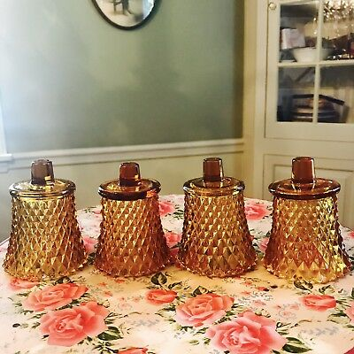 Vintage Diamond Cut Amber Depression Glass Votive Holders