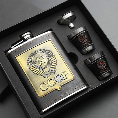 8oz Stainless Steel FLASK Screw Cap Hip Pocket Alcohol Liquor Whiskey Gift Set
