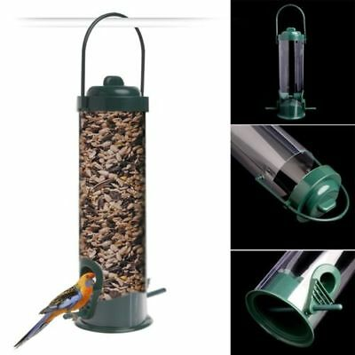 Green Hanging Wild Bird Feeder Seed Container Hanger Feeding New Delightful