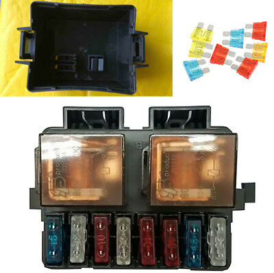 DC 12V 2 Way Relay Blade Fuse Box Holder with Accessories for Car Boat Truck