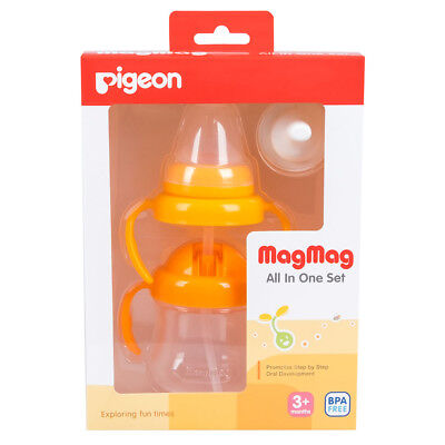 Pigeon MagMag All In One Set Step 1-3 Baby Nipple Spout Straw Drink Training Cup