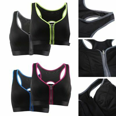 Women Sports Push Up Bra Zipper Front Padded Shockproof Wire free Tops Fitness