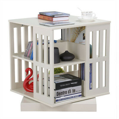 Rotating Bookshelf Revolving Bookcase Swivel Book Display Case Cube End Table