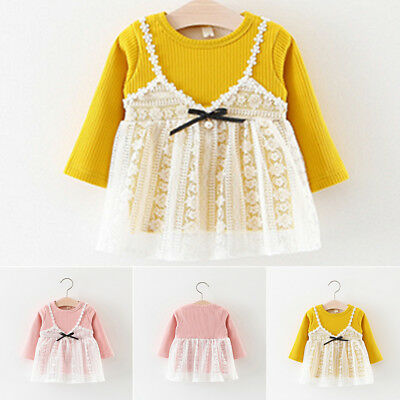 Newborn Toddler Baby Girls Clothes Lace Dress Princess Party Tulle Dresses Tops