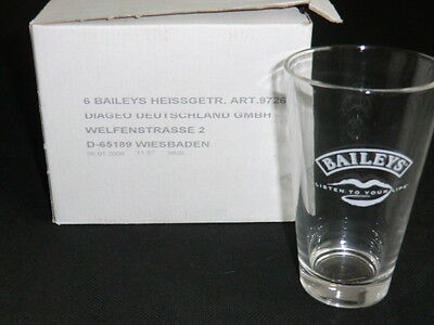 "6 Baileys Bailey's Glas / Longdrink Glas ""Listen to your Lips"" NEU OVP s. Fotos"