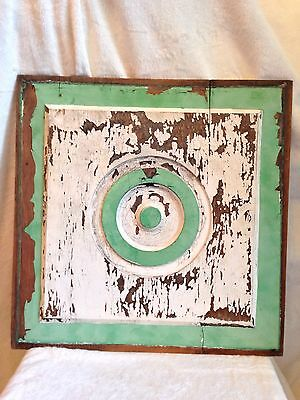 """Vintage Shabby Chic Old Paint Cupboard Panel 17"""" SQ - GREAT Wall Hanging"""