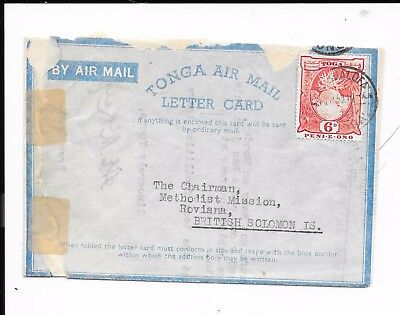 TONGA AIRMAIL COVER 6d RATE TO SOLOMON ISLANDS FROM WESLEYAN CHURCH. 1953. TEARS