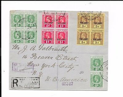 VIRGIN ISLAND 1917 WAR TAX COVER TO USA . DOUBLE REGd LABEL BACKSTAMPS ST THOMAS