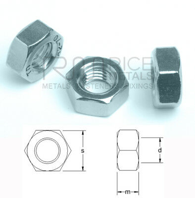 Hexagon Full Nuts Din 934 Zinc Plated Steel Nuts for Bolts & Screws M2 - M39