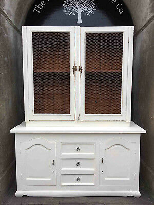 Distressed Painted Wooden Dresser with Chicken Wire Front
