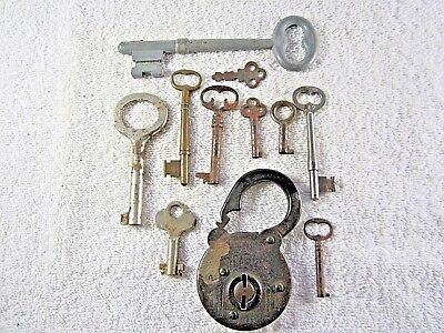 Nice Lot of Antique 'Secure Lever' Pad Lock with a group of ten collectible keys