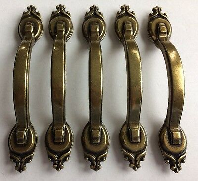 """Lot Of 5 New Old Stock 4-3/4"""" Brass Plated Drawer Shed Barn Door Pull Handle"""