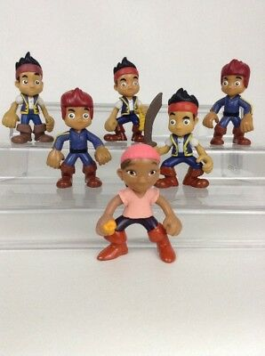 LOT (6 Pc) Disney Jake & The Neverland Pirates Toy Figures/ Cake Toppers Izzy