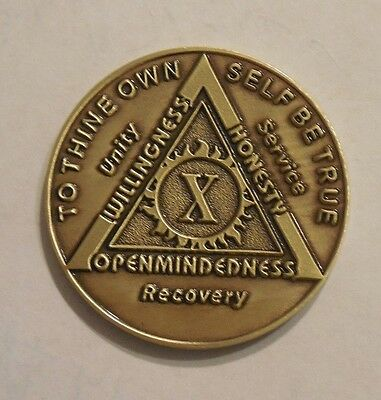 aa bronze alcoholics anonymous 10 year sobriety chip coin token medallion NEW