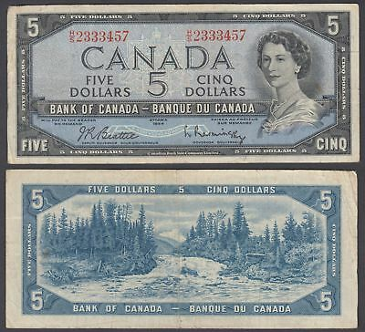 Canada 5 Dollars 1954 (1961-72) Banknote (VF) Condition P-77b QEII
