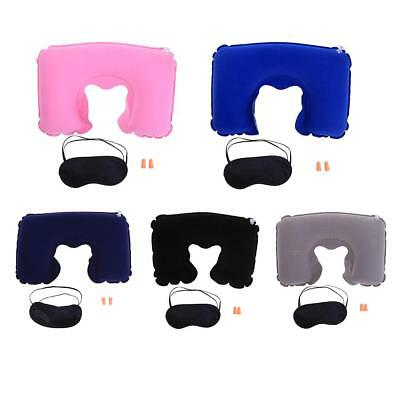 3 In1 Inflatable U-Shape Travel Pillow Air Cushion Neck Rest  Eyes Mask Earplugs