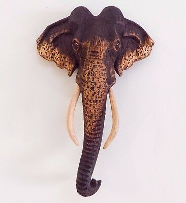 """Wooden Hand Carved Elephant Face Mask Wall Hanging Home Decor Sculpture 8"""""""