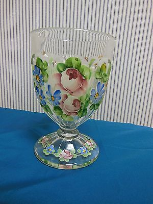 Antique Glass Vase Hand Painted Raised Enamel Flowers Pink, Blue and Green
