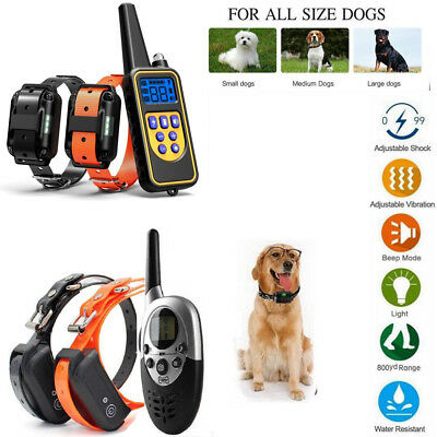 LCD Pet Dog Collar Training Waterproof Rechargeable Remote Shock for S M L Dog
