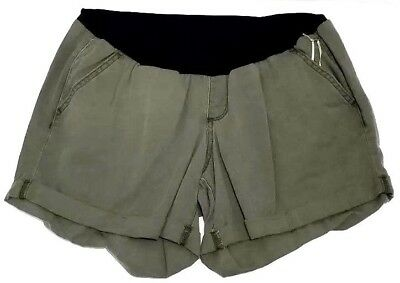 A.Glow Maternity Shorts Size 16 Belly Panel Cuffed Hems  Olive Green