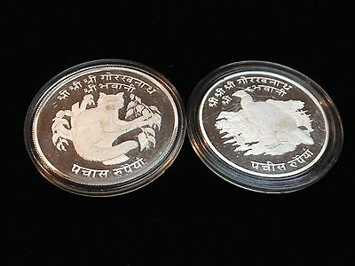1974 Nepal 50 Rupee Red Panda & 25 Rupee Peacock Silver Proof Coins