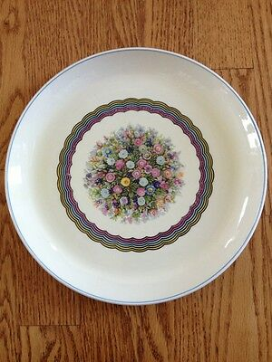 Vtg Cavitt Shaw WS George Dinner Plate 181A Floral On Pale Yellow