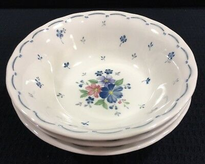 """3 Nikko Provincial Designs Dauphine 6 1/8"""" Coupe Cereal Bowl 12 Oz Made In Japan"""