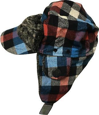 PRE-OWNED Boys Mothercare Blue Mix Detailed Flap Hat Size 1-3 Yrs