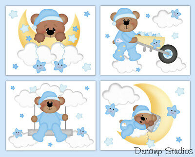 Teddy Bear Nursery Decal Baby Boy Wall Art Cloud Star Moon Stickers Kids Mural