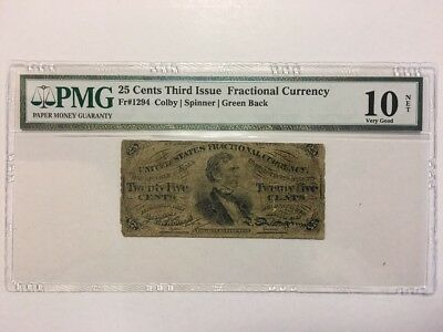 25 Cents Third Issue United States Fractional Currency Note Bill - PMG VG 10 NET