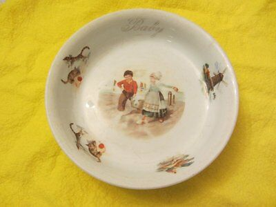 """JACK and JILL 6"""" BOWL from 1920's CHILDREN WINDMILL CATS CHICKENS"""