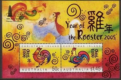 2005 Christmas Island   -Year of the Rooster M/S Opt Taipei Stamp Exhibition MNH