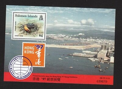 1997 Solomon Islands Stamps - Hong Kong 97 with crab  Minisheet MNH