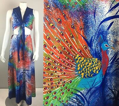 Vintage 70s Peacock Crop Top Wrap Maxi Skirt Matching Set Dress M-L Festival