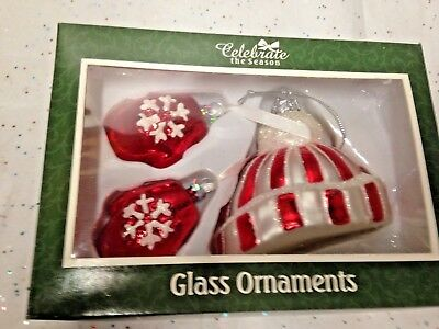 Vintage Christmas Ornaments  Mica Unusual Glass Gloves Hat Snow Decorations Xmas