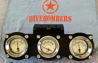 2 5/8 Gauge Panel Bomber style Custom triple gauge Gasser Hot Rod Bezel rat rod