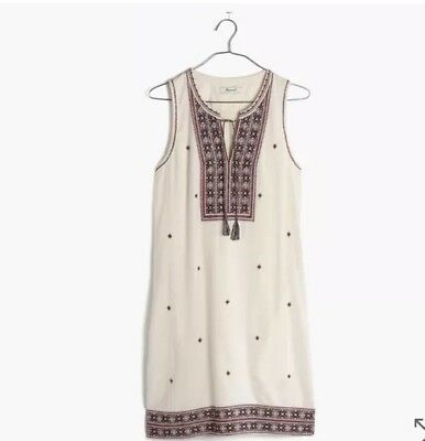 7a85ab247cf NWT MADEWELL  158 For J.Crew embroidered suncoast dress Size4 F2231 ...