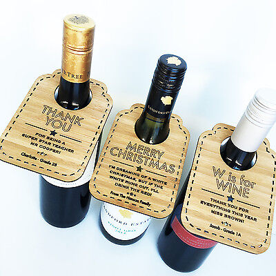 Personalised Wooden Bamboo Wine Bottle Tags Gift