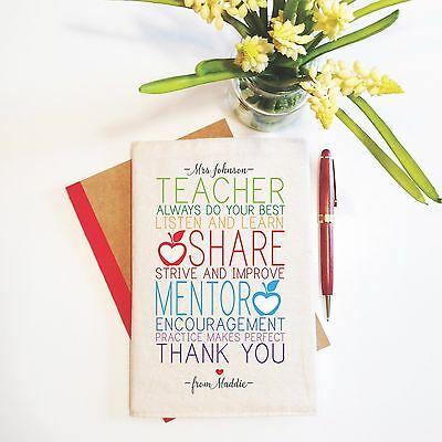 Colourful Encouragement Personalised Teacher Notebook With Reusable Cover Gift