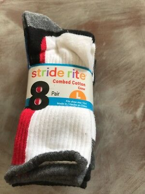 NWT Boys Stride Rite Combed Cotton Crew Socks 8 Pack Large 13-4 Sport Ankle Wrap